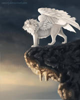 White Winged Lion by Vawie-Art