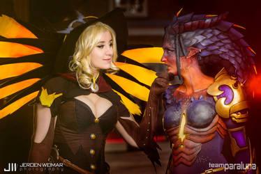 Witch Mercy and Dragon Symmetra - Overwatch by xPandorae