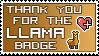 Llama Bagde thanks stamp by izka197