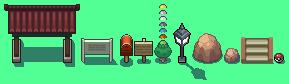 Pokemon style overworld objects sprite sheet by RedKnightX