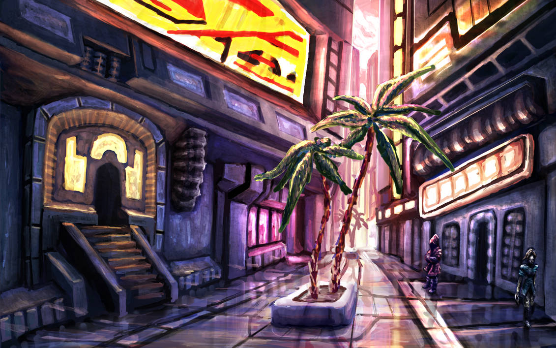 Scifi Alleyway Practice by LuigiPunch