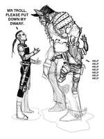 Dwarf meets troll by nevershop