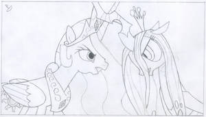 Celestia vs. Chrysalis by CaptainBoat