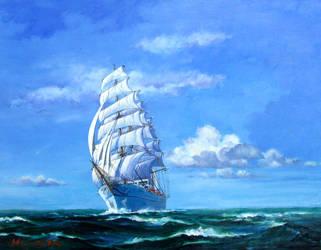 Sailing Ship -Blue Sky 2- by temma22