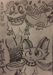 Majespecter Racoon and Majespecter Cat Handrawn by lunartail