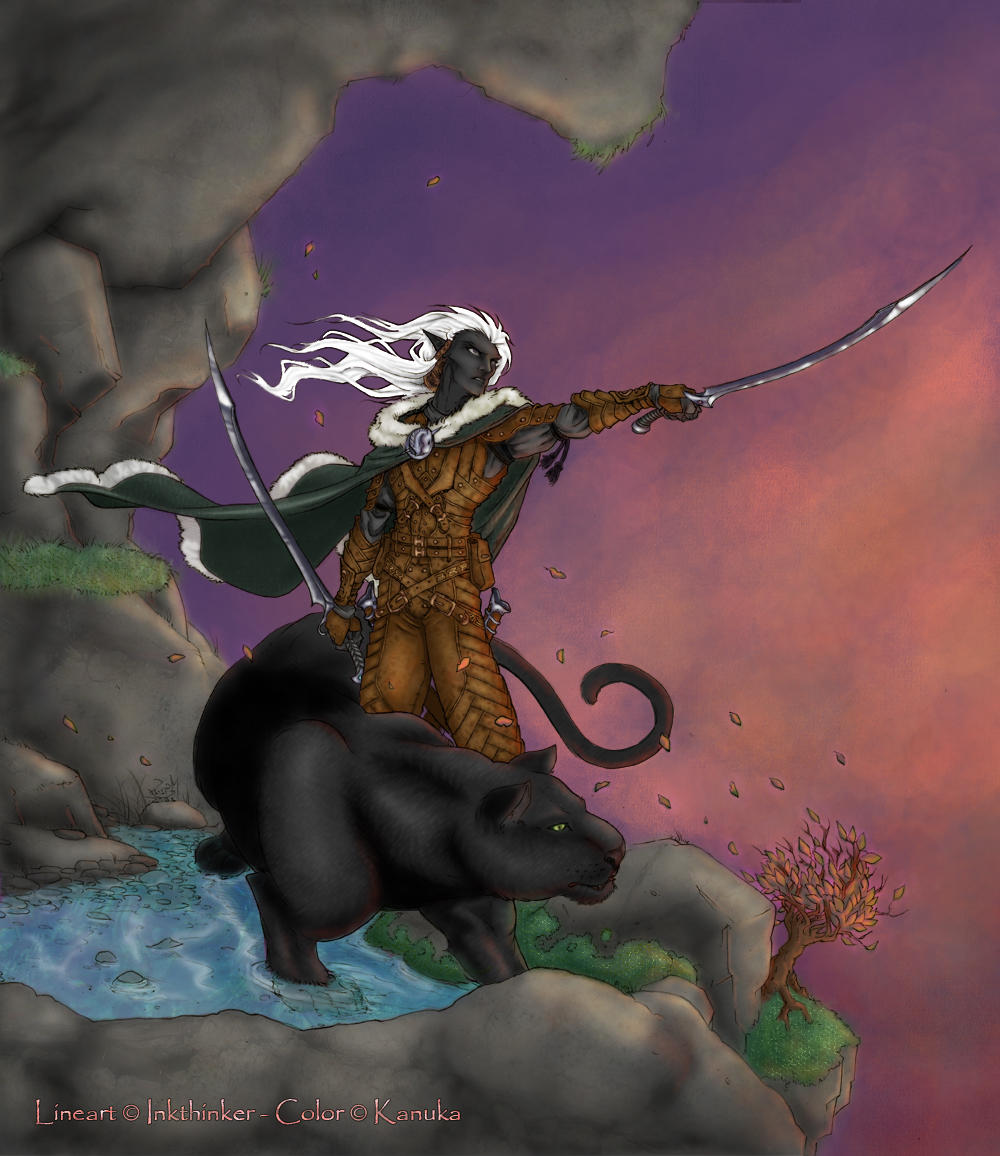 Drizzt and Guenhwyvar by Kanuka76