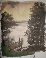Lake by sunset by gypsysnail