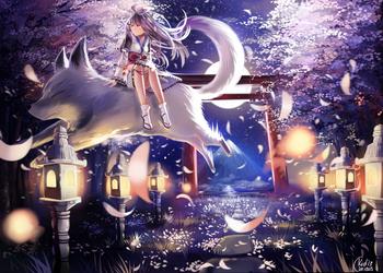 Commission: Night of Sakura by KidCurious