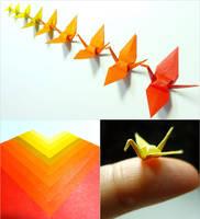 Micro Origami Cranes - Autumn Color Study by maichan-art