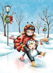 Ladybug and Penguin on Ice by Isynia-Artessa