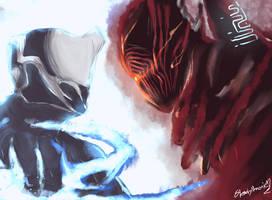 Warframe Hayden Tenno vs Shadow Stalker by SlendyNameko