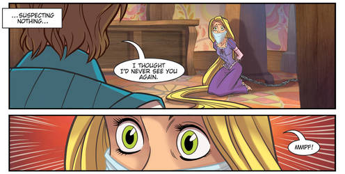 Rapunzel gagged by HeroineInDistress