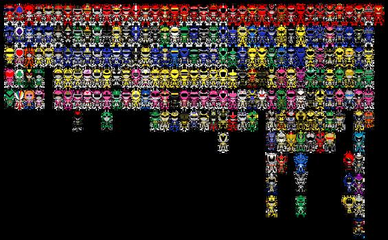 All Super Sentai a.k.a. Power Rangers Pixel Art by Miralupa
