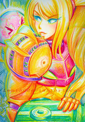 Crayon Samus Aran by LemiaCrescent