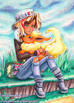 Copic Marker Pokemon Trainer Piper and Flareon by LemiaCrescent