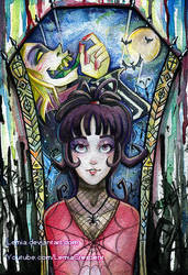 Watercolor Lydia Deetz and Beetlejuice by LemiaCrescent