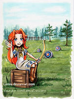 TLOZ Majora's Mask Romani and her Target Practice by LemiaCrescent