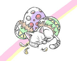 Easter kitty- now in colour by Drowning-Echoe