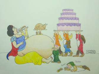 Snow White and the seven feeders by luvmesomebelly