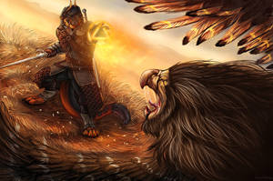 YCH Griffin Fight by AnsticeWolf