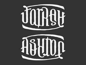 FARRAH ASHTON Ambigram Tattoo by bezierwrangler