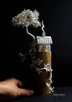 Tiny Home on a Wooden Log - Mixed Media Sculpture by MalenaValcarcel
