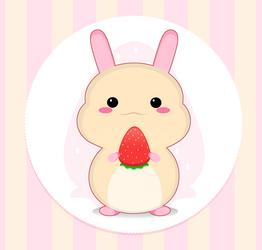 Kawaii : Rabbit with strawberry by Citronade-Arts