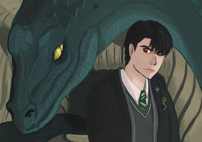 Tom Riddle and the Basilisk by Taeskani