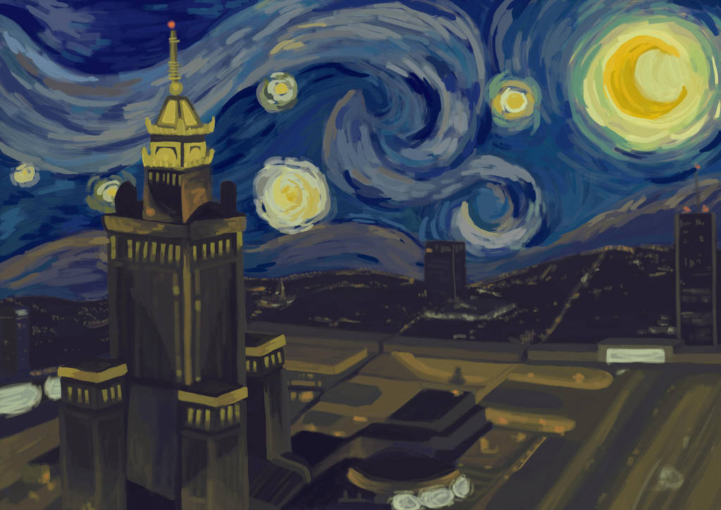 Van Gogh's ''Starry Night'' pastiche/Warsaw by S-Truchlo
