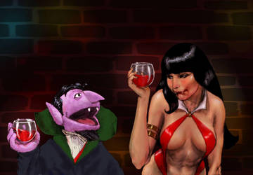 TLIID Muppet week - Vampirella and Count Von Count by Nick-Perks