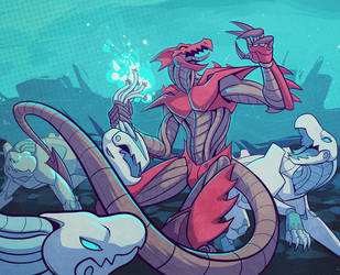 Battle of the Mechanoids by squeedgemonster