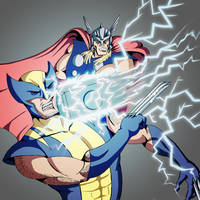 COMMISSION - Thor Vs Wolverine by MonteCreations