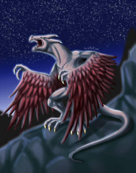 Wyvern by night by MonteCreations