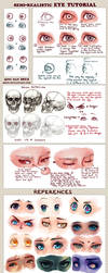 Semi-realistic + anime Eye Tutorial and References by Qinni