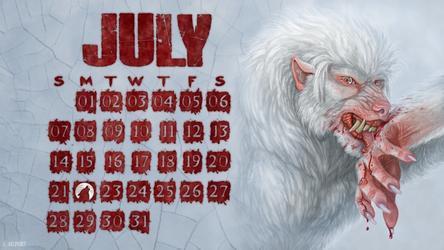 July Werewolf Desktop Wallpaper Calendar by Viergacht