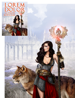 Sorceress and Megakitty Premade Book Cover by Viergacht