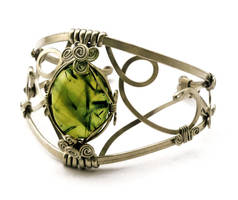 Wire Wrap Cuff Bracelet with Prehnite stone by hyppiechic