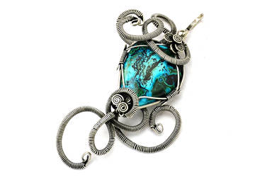 Wire Wrap Chrysocolla Pendant - Silver Plated by hyppiechic