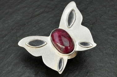 Butterfly Silver Ring with Ruby Zoisite Stone by hyppiechic