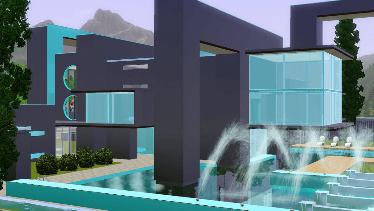 Black and blue futuristic home by RamboRocky