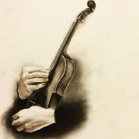 Violin in charcoal by Annocent