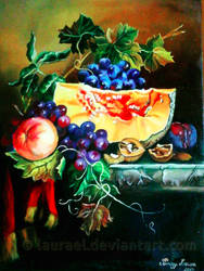 Still life with melon by Laurael