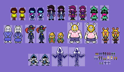 Deltarune Cast Overworld Sprites (1) by EllistandarBros