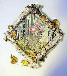 Deer in Wood Frame by BeckyLiv