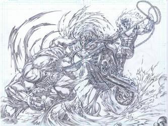 Ghost Rider vs Venom by emilcabaltierra