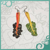 Rainbow Chard Earrings by lily-inabottle