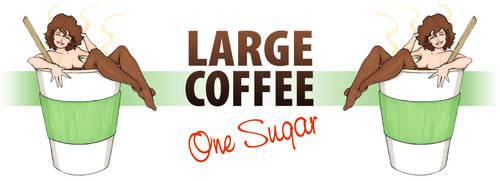 Large Coffee 1 Sugar (Mug) by JohnRose-Illustrator