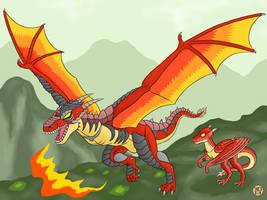 Oyako Fire Dragons by Kairu-Hakubi