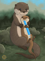 Otter Mom And Pop by Kairu-Hakubi