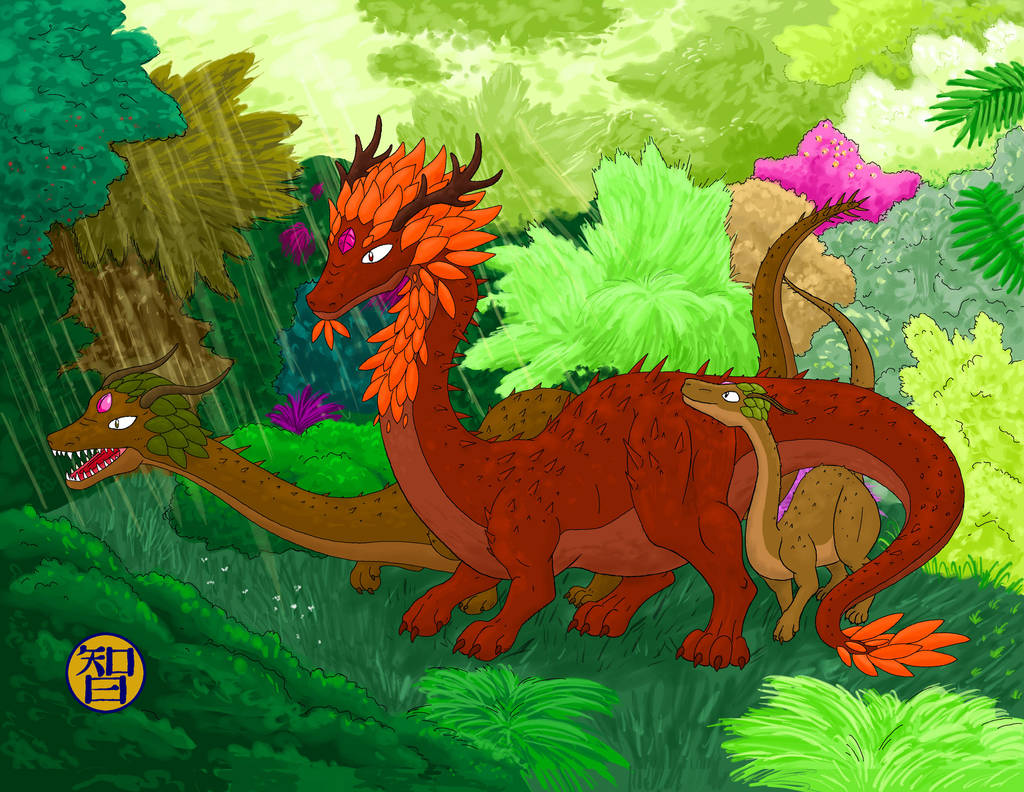 Forest Dragons With Baby by Kairu-Hakubi